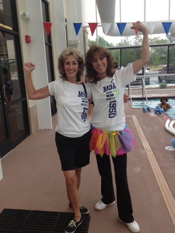 My Mom & Aunt ready for the Zumbathon Dance Party!