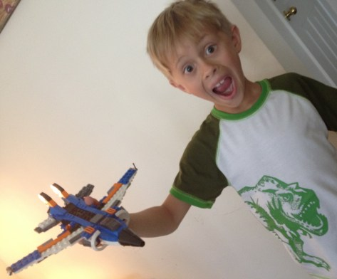 Sawyer with his Lego Plane