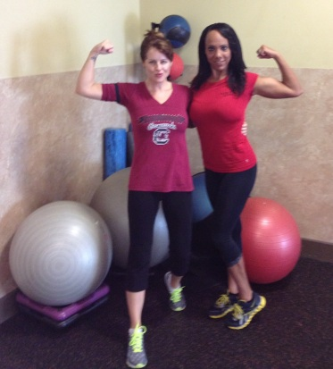 Me and my amazing trainer, Rebekah Dockery. Talk about leading by example -this lady's body is incredible!