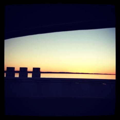 Sunset glow on the dam