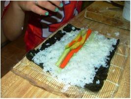 Arranging her ingredients