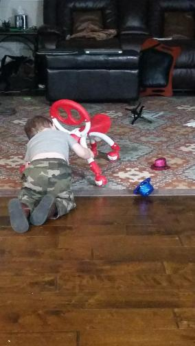 Watching his obsession with understanding how the wheels on his little bike work - I assume he does this at daycare too - pushing and pulling and analyzing how the wheels turn on their grocery carts and walking toys