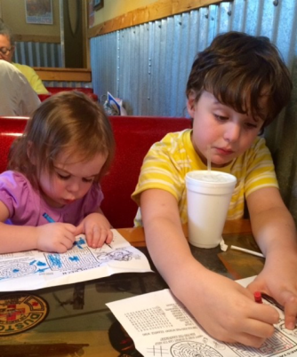 Jack and Ila coloring at Flight Deck